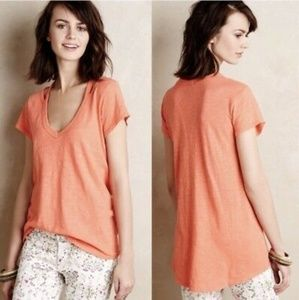 Anthropologie Cut-Out Slubbed Tee in Coral